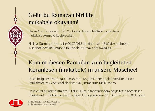 Ramazan 2013  DİTİB Münster Merkez Mukabele Programı